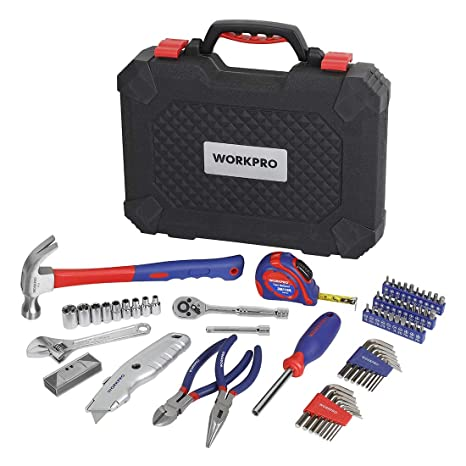 Workpro 74 Piece Home Repair Tool Kit General Household Tool Kit For Home Maintenance Diy Projects With Plastic Toolbox Storage Case W009085a