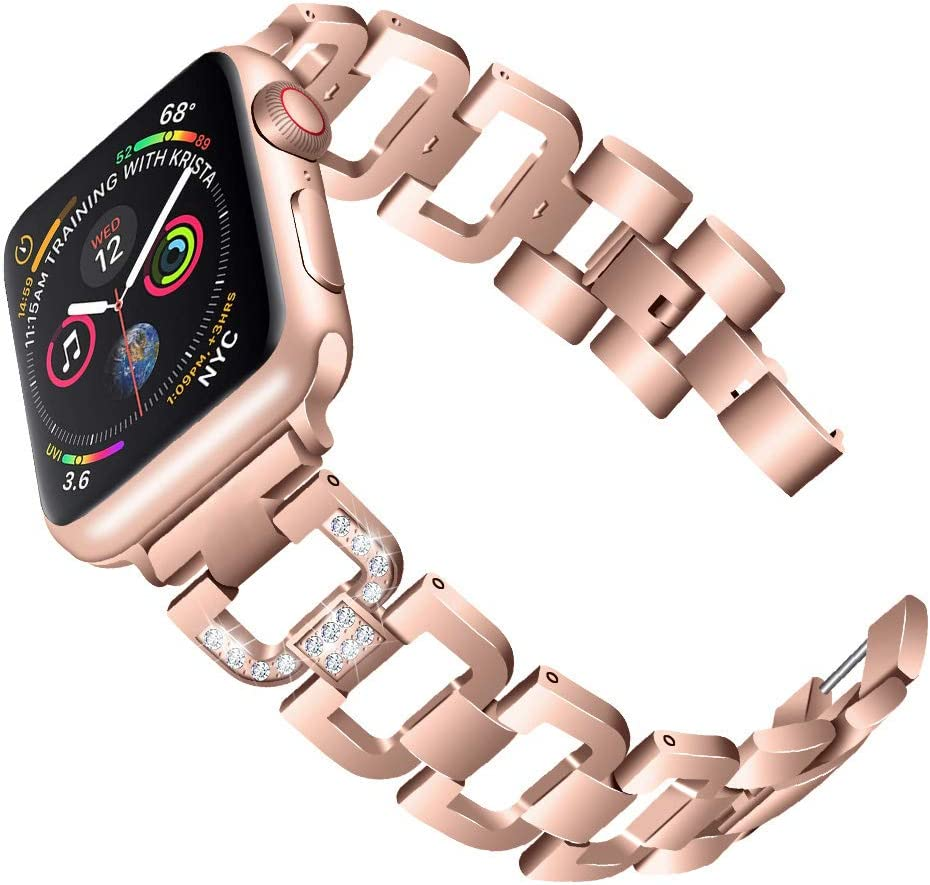PUGO TOP Band Compatible with apple watch 40mm Series 6 5 4 Iwatch IPhone Watch Bracelet Band Stainless Steel Metal Bling with Rhinestones (38mm/40mm, Series 5/4 Aluminum Case Gold)