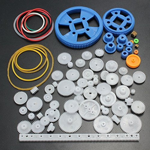 - Lost Ocean 80Pcs Plastic DIY Robot Gear Kit Gearbox Motor Gear Set For DIY Car Robot