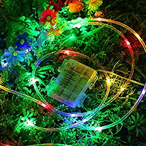 YIHONG Fariy Lights LED Rope Lights Battery Operated String Lights 33ft 8 Mode Fairy Lights Waterproof Firefly lights with Remote Timer for Outdoor Indoor Garden, Easter, Party Decoration-Multi Ccolor
