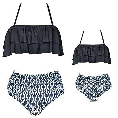 a4f0b63a07 2 Pcs Daughter and Mom Family Matching Bikini Swimsuit Ruffle Halter High  Waist Bathing Suit Little