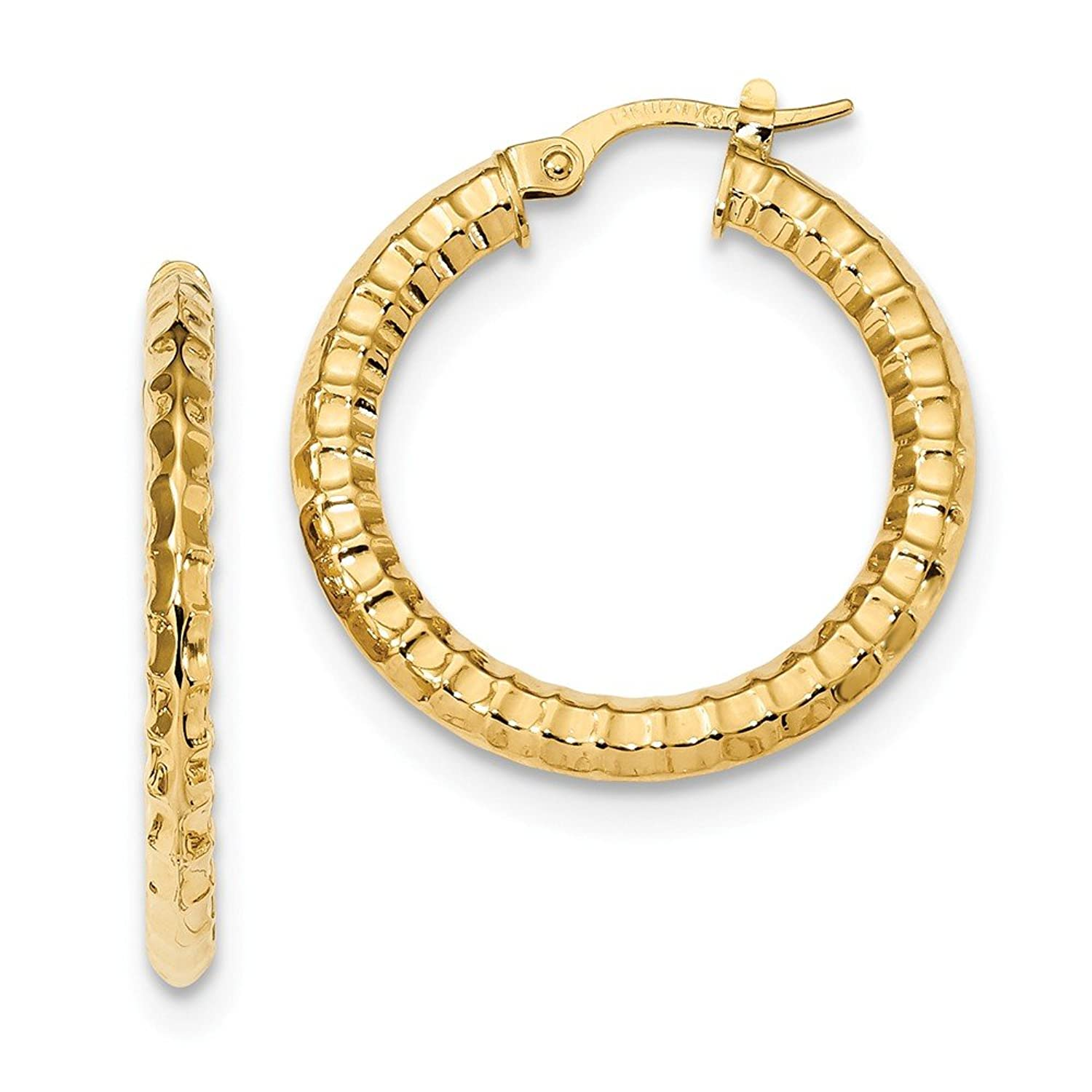 14kt Yellow Gold Polished and Textured Hoop Earrings