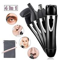 Kit regolatore dei capelli 4 in 1 cordless USB ricaricabile elettrico viso rimozione dei capelli indolori sopracciglio bikini basette per il corpo rasoio capelli rimozione dei capelli per le donne (nero) -Free regalo pinzette per sopracciglia