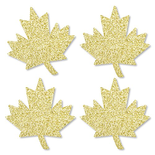 - Gold Glitter Maple Leaf - No-Mess Real Gold Glitter Cut-Outs - Canada Day Confetti - Set of 24