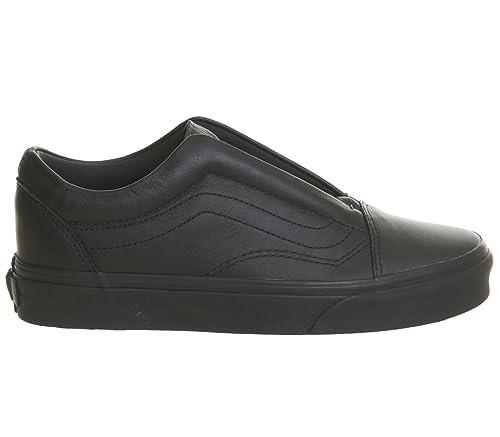 382a565e946 Vans Old Skool Laceless Black Mono Leather - 7 UK  Amazon.co.uk ...