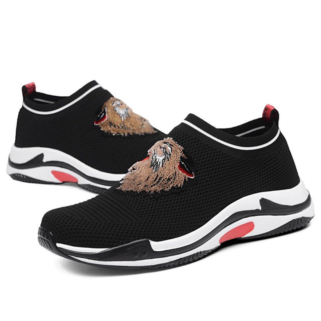 GAOLIXIA Zapatos deportivos ocasionales de la malla de los hombres Zapatillas deportivas bordadas de la aptitud que funcionan con las zapatillas de deporte atléticas de la competencia 44 Negro