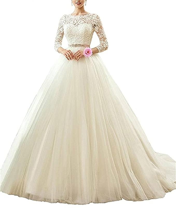 Vepycly Womens Open Back Lace Wedding Dresses For Brides Long