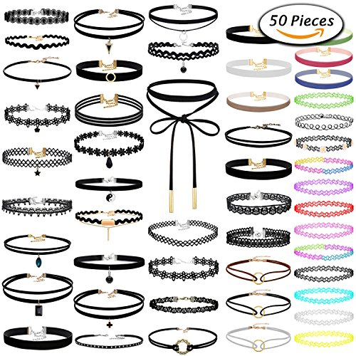 Paxcoo 50Pcs Black Choker Necklaces