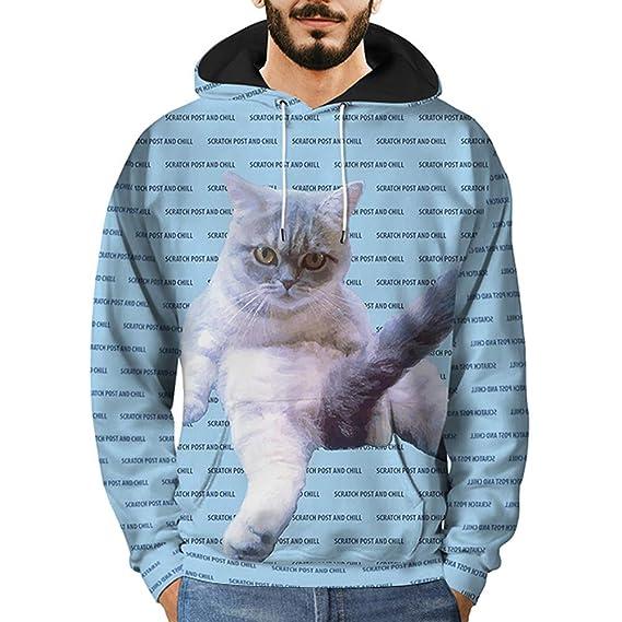 5187c7d7038fe Sweat-Shirt à Capuche - Homme Vtops Les Hommes 3D Imprimé Chat Pull à  Manches Longues à Capuche Sweat à Capuche BlousePas Cher Bleu M-XXXL   Amazon.fr  ...