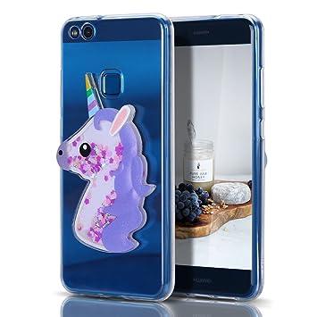 Caselover Funda Huawei P10 Lite, 3D Bling Silicona TPU Unicornio Carcasas para Huawei P10 Lite Glitter Líquido Arena Movediza Protección Caso Bumper ...