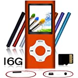 Tomameri - Compact and Portable MP3 / MP4 Player with Rhombic Button ( Including a 16 GB Micro SD Card ) Supporting Photo Viewer, E-Book Reader and Voice Recorder and FM Radio Video Movie (Orange)