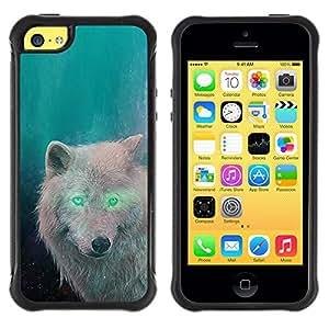 BullDog Case@ White Wolf Green Eyes Alien Forest Magic Rugged Hybrid Armor Slim Protection Case Cover Shell For iphone 5C CASE Cover ,iphone 5C case,iphone5C cover ,Cases for iphone 5C