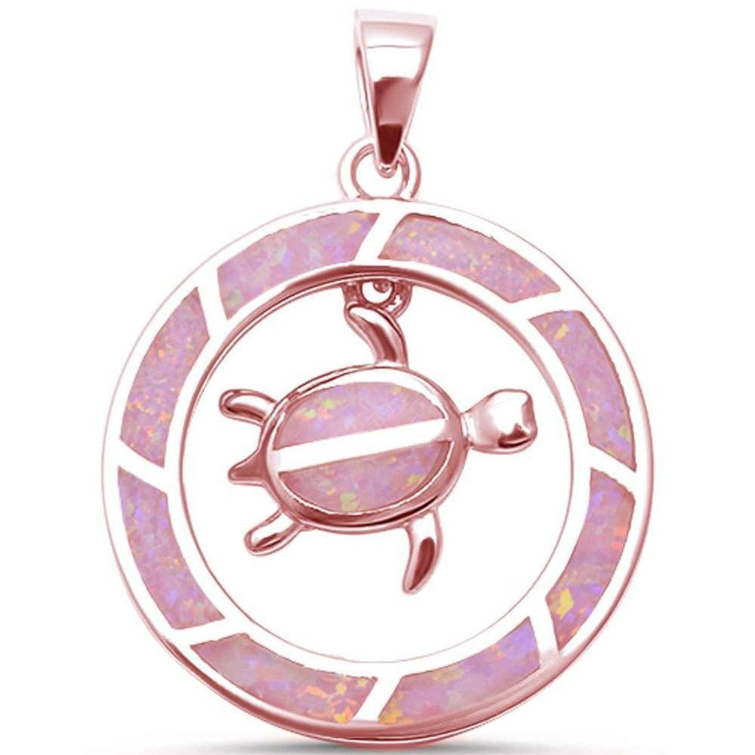 Round Dangling Turtle Pendant Charm 925 Sterling Silver Lab Created Opal Choose Color