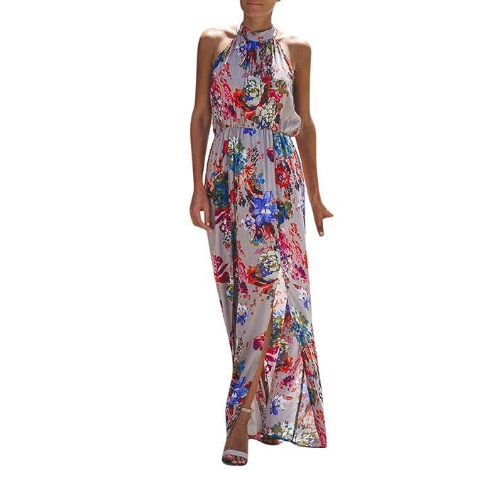 a8a3037e833a6 Cealu Women Summer Cold Shoulder Dress Halter Sleeveless Empire Waist Maxi  Dress Split Hem Boho Floral Evening Party Dress: Amazon.ca: Clothing & ...