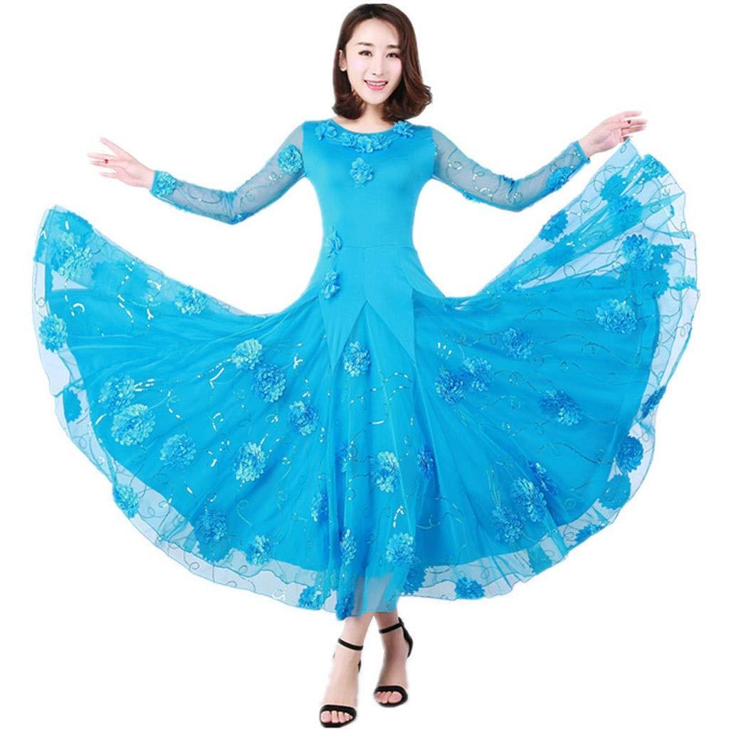 bleu XXXXL JTSYUXN Robe De Compétition De Danse Moderne Lace Ballroom, Jupe Swing Standard National Valse Tango à Manches Longues (Couleur   bleu, Taille   M)