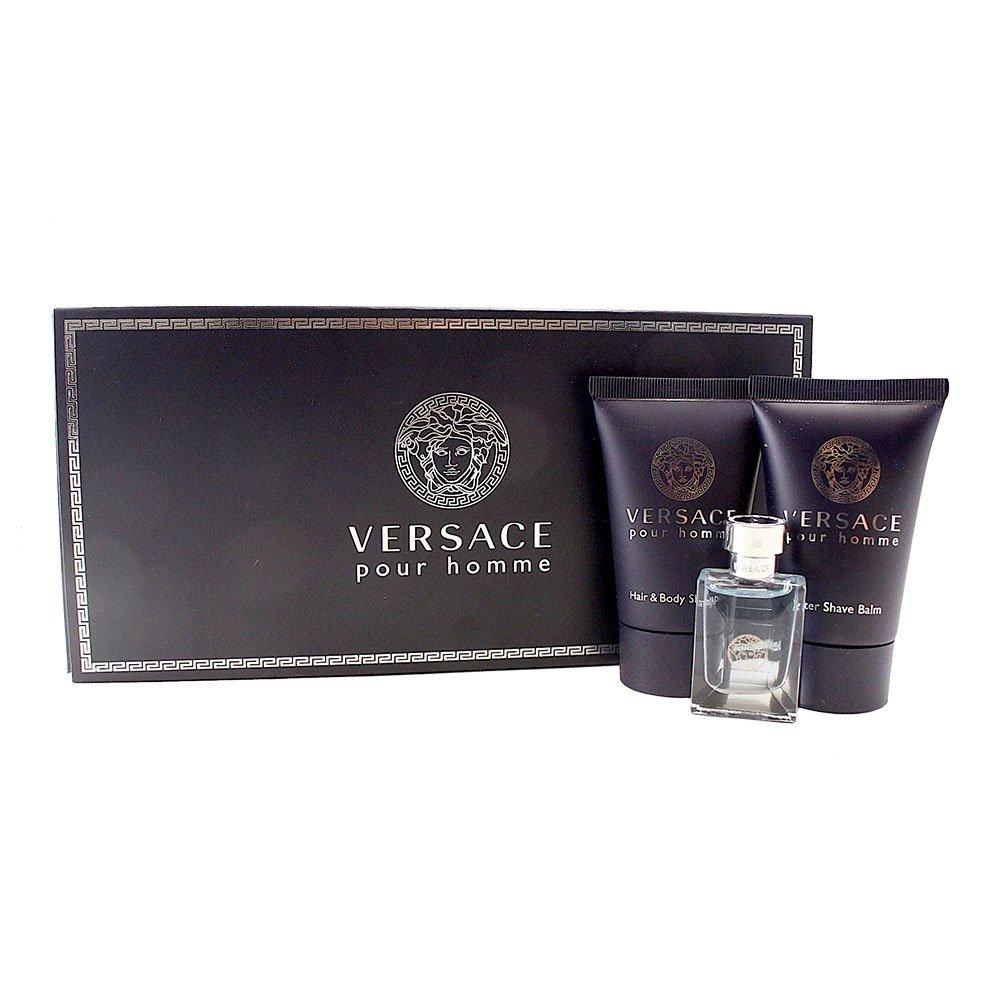 Gianni Versace pour homme gift set (eau de toilette & hair & body shampoo & after shave balm) for men, 0.17 Fl. Oz, 3 Piece VPH36M