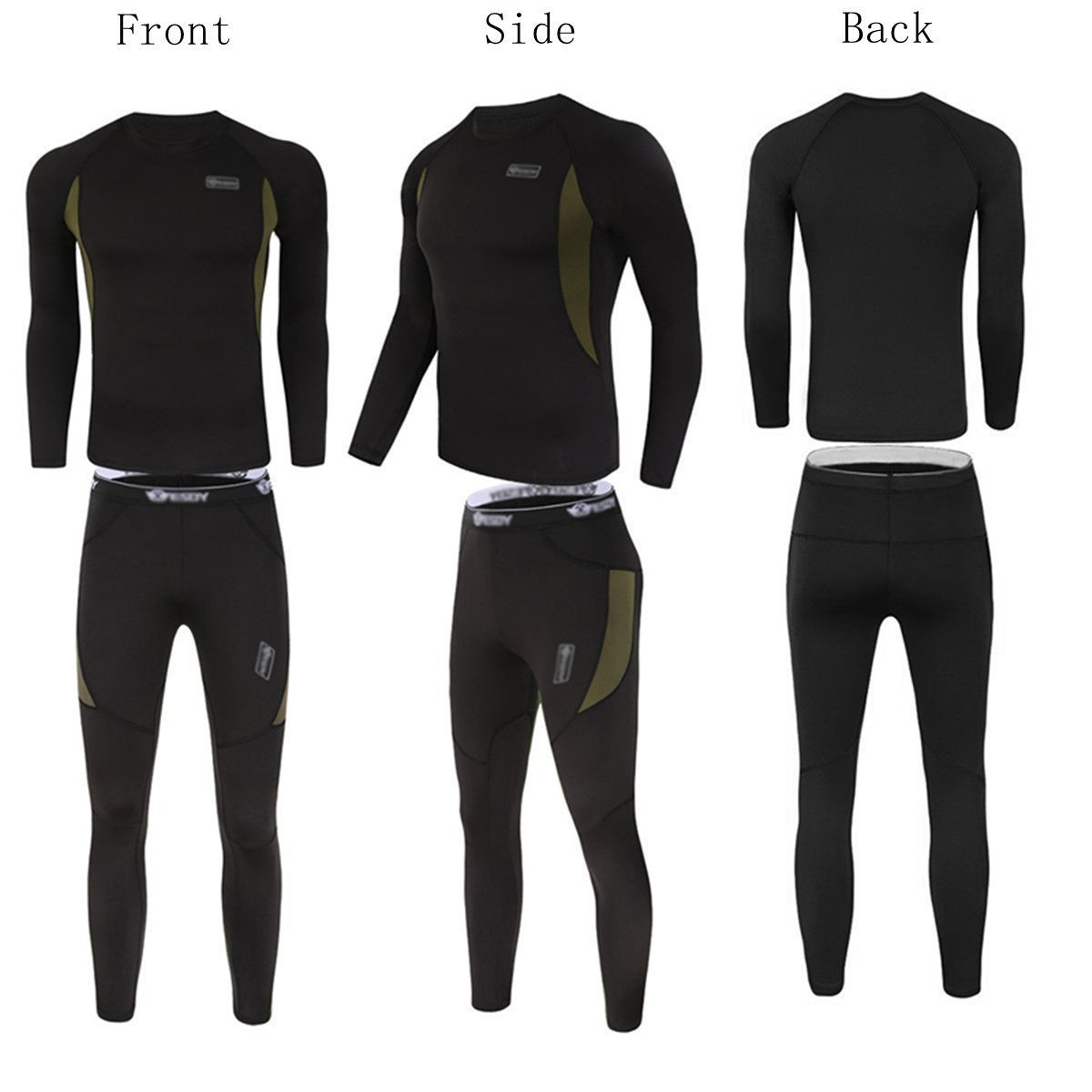 nero Set di biancheria intima termica da uomo Winter Suit Ski maniche lunghe maglia e mutandoni BLF XL