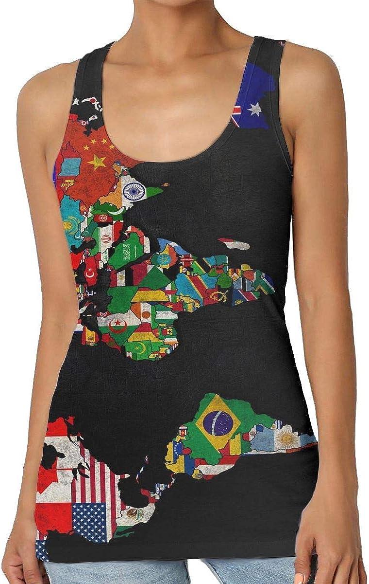 Henrnt Camisetas Sin Manga Mujer/Chaleco,Verano Camiseta Tirantes, World Map Flag Women Tank Top T-Shirt 3D Printed Sleeveless Sport Vest Racerback