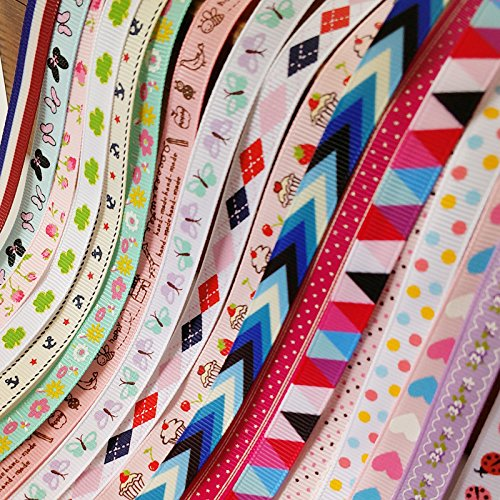 Chenkou Craft 20Yards Sweet Heart Flower Dot Ladybug Cake Bird Anchor Butterfly Grosgrain Ribbon Assorted Color (3/8