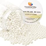 PandaHall Elite 4mm About 1000Pcs Tiny Satin Luster Glass Pearl Round Beads Assortment Lot for Jewelry Making Round Box Kit Anti-flash white