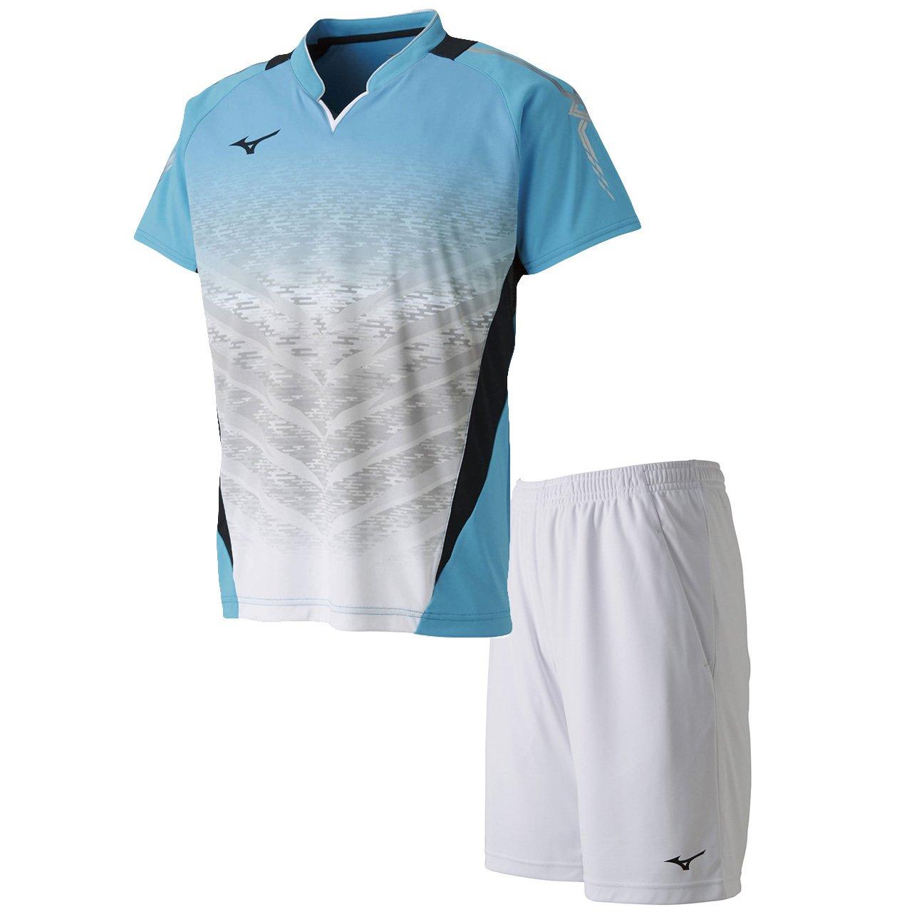 ミズノ(MIZUNO) ゲームシャツ&ゲームパンツ 上下セット(ブルーアトール/ホワイト) 72MA8001-21-62JB8012-01 B079S3GTBG ブルーアトール/ホワイト S
