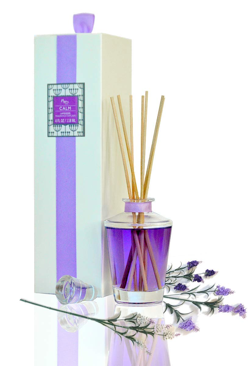 Manu Home Natural Lavender Reed Diffuser Sticks   Made with Real Lavender Extract and Quality Oils   Beautiful Reusable 4 oz Glass Bottle and Natural Reed Sticks   Best Aromatherapy Calming Scent~ by Manu Home