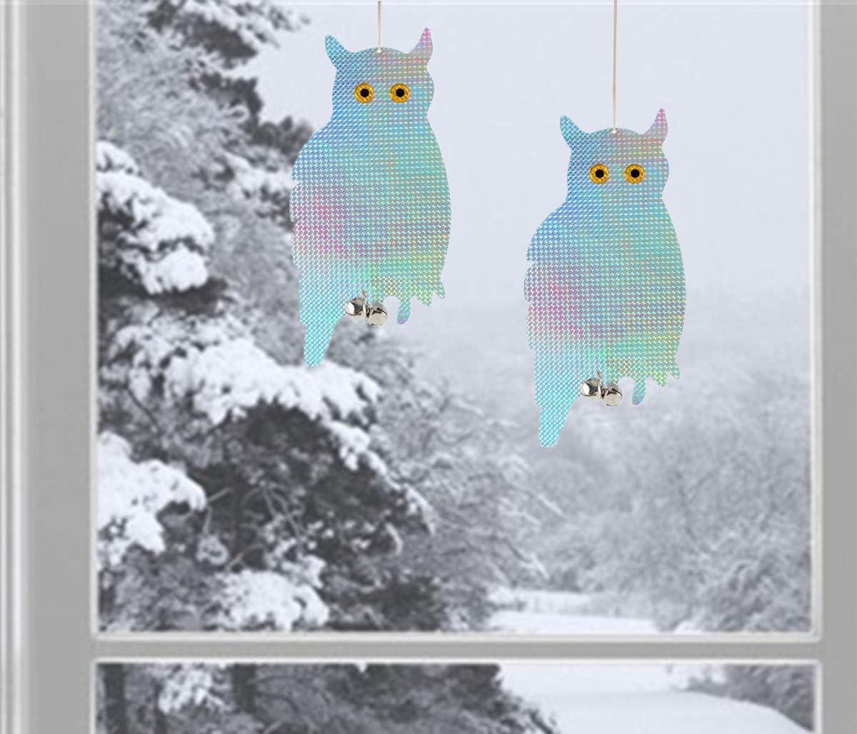 Anti-Collision Window Bird Owl Repellent Devices Decor - Laser Hanging Holographic Reflective Scare Owl Deterrent, Prevent Bird Strikes, 2 Pcs