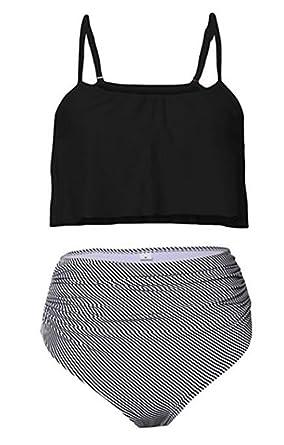 aa3dc576734fe Ibelive Women s High Waisted Bikini Flounce Top with Striped Bottom Bathing  Suits 2 Pieces Swimwear (