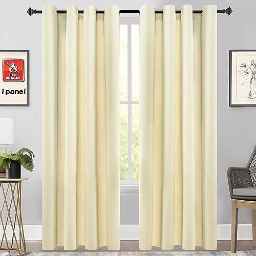KEQIAOSUOCAI Flame Retardant Curtains Panels Fire Resistant Grommet Drapes