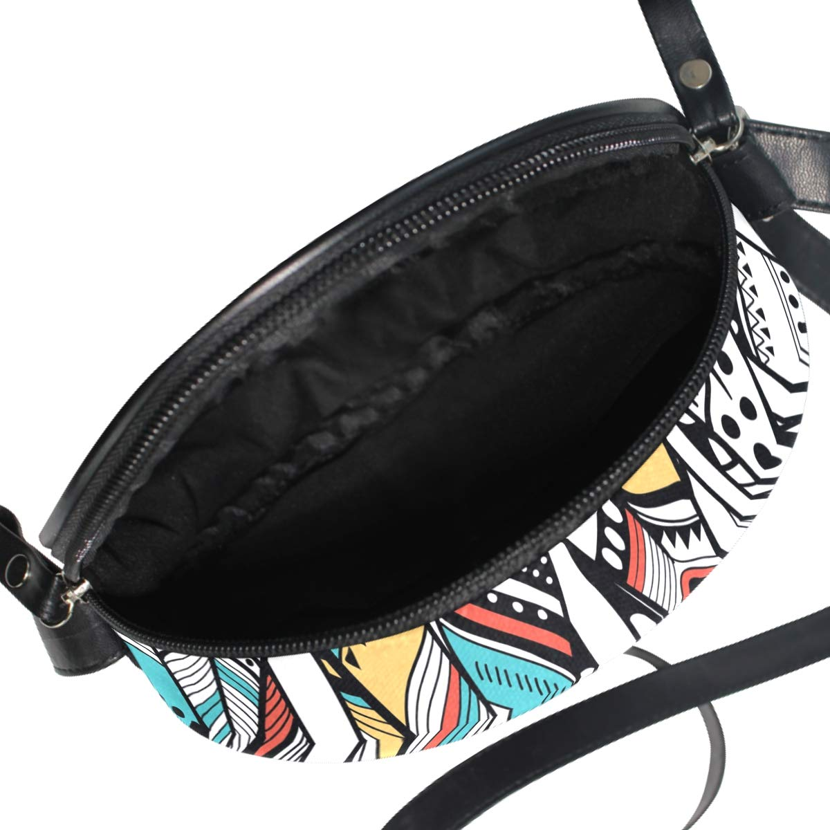 Feather Traditional Small Round Canvas Crossbody Messenger Bags for Women