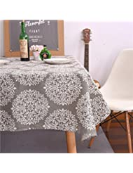 ColorBird Grey Medallion Tablecloth Cotton Linen Dust-Proof Table Cover for Kitchen Dinning Tabletop Linen Decor (Rectangle/Oblong, 55 x 70Inch)
