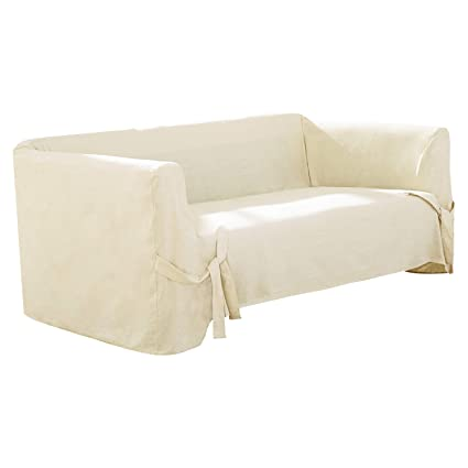 Deconovo Loveseat Cover Recycled Cotton Strap Sofa Slipcover Couch Cover  For 2 Cushion Sofa Beige One