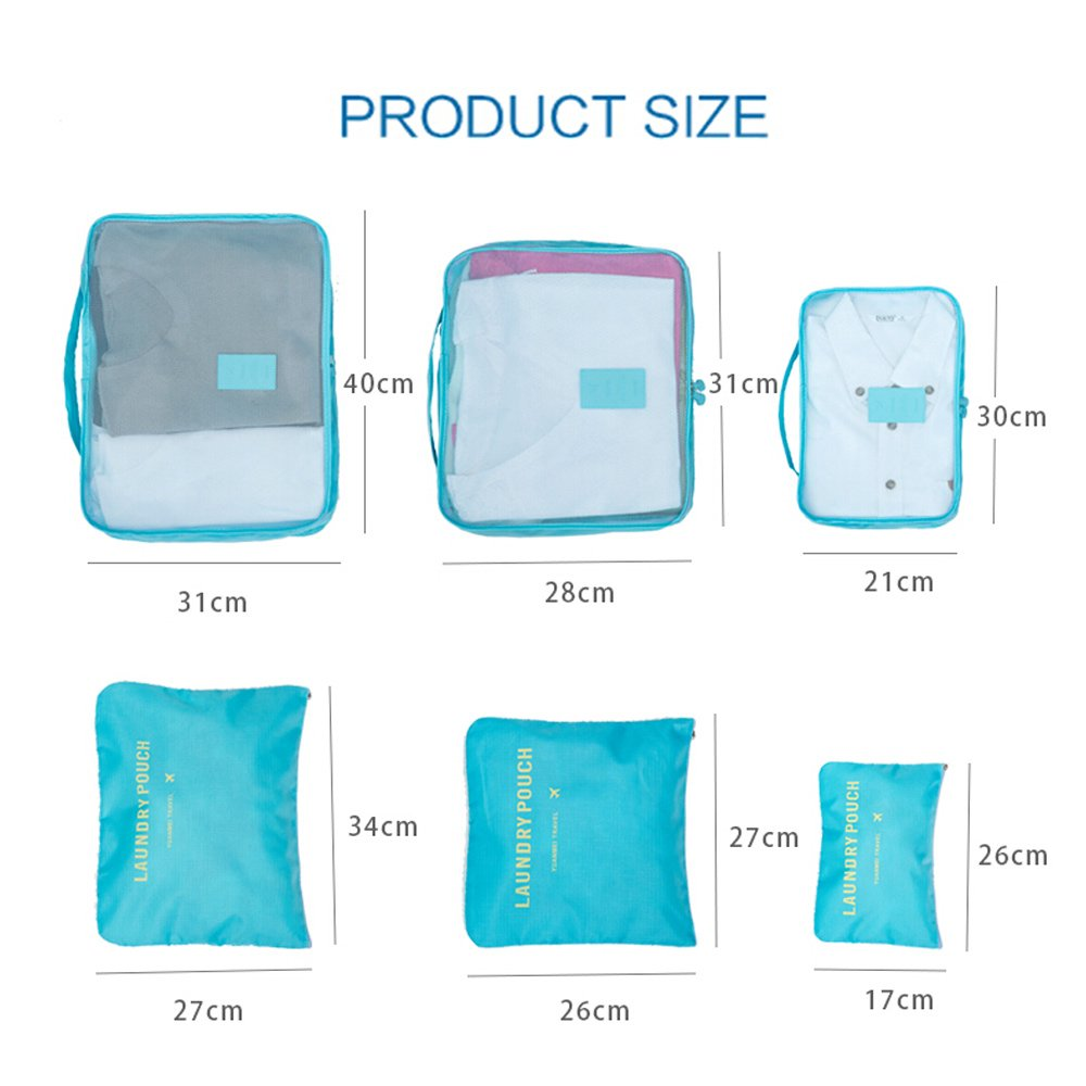 Light Blue Pack of 6 Packing Cubes-Compression Travel Luggage Organizer-Travel Clothe Storage Bag-Travel Mesh Pouch Laundry Bag-Travel Packing Organizer-Shoe Bag