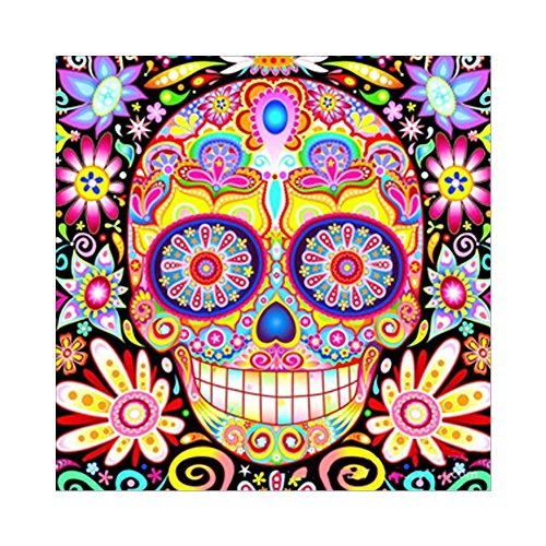 DIY Full Drill Diamond Painting by Number Kit, 5D Colored Sugar Skull Flower Picture Arts Crafts for Home Room Wall Decoration (11.8 x 11.8 inch)