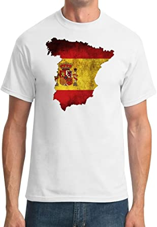 Camiseta de hombre con el mapa España con la bandera de España Blanco blanco adulto Hombres 116, 84 cm-121, 92 cm XL: Amazon.es: Ropa y accesorios