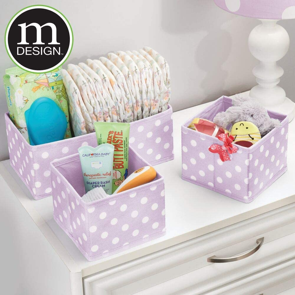Organizing Bins in 2 Sizes Playroom mDesign Soft Fabric Dresser Drawer and Closet Storage Organizer Set for Child//Kids Room Nursery Polka Dot Pattern Light Purple with White Dots Set of 6