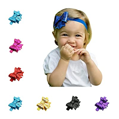 10Pcs Shining Sequins Bow Flexible Hairband (Assorted Color)