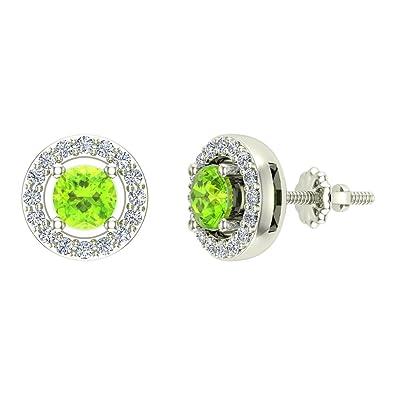 a22dafdec2ef70 Amazon.com: 14K White Gold Studs Peridot Diamond Halo Birthstone Earrings  August Distinct 0.70 carat total weight Screw Back Posts Certified: Jewelry