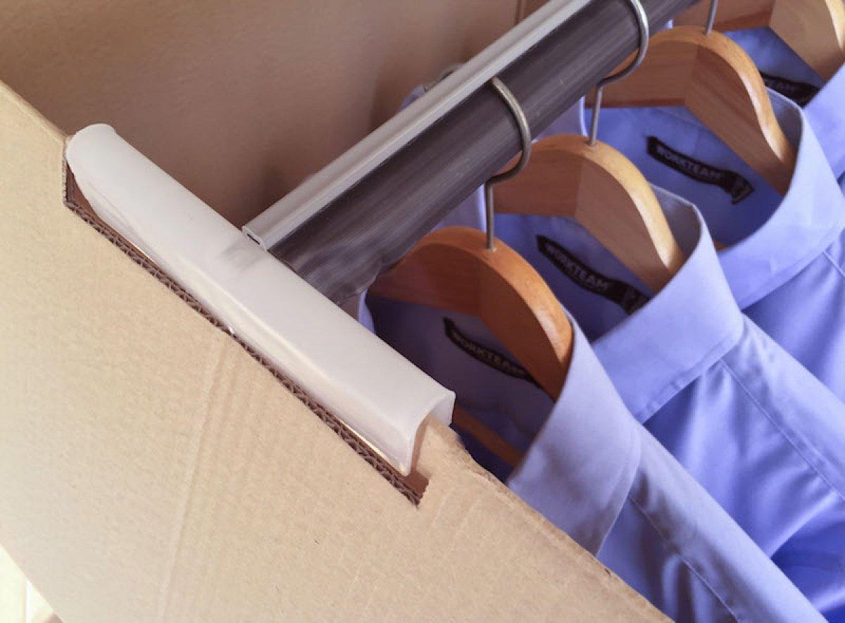 Pack de Cuatro (4) Cajas Armario de Cartón, Color Marrón y Canal Doble. Mudanzas. Guardarropa. Incluyen Dos Barras Perchero. Tamaño 50 x 50 x 101 cm. ...
