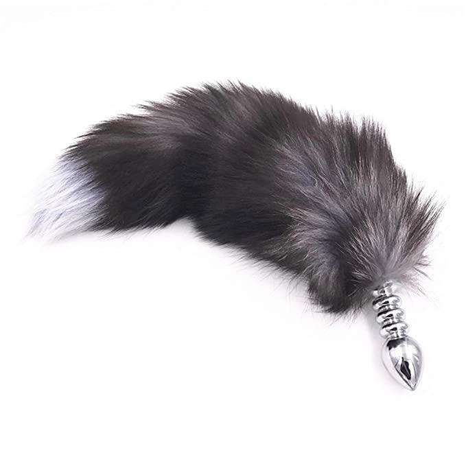 Big Spiral Stainless Steel Butt Plug Furry Fox Tail Anal Plug Smooth Fur Sex  Toys for