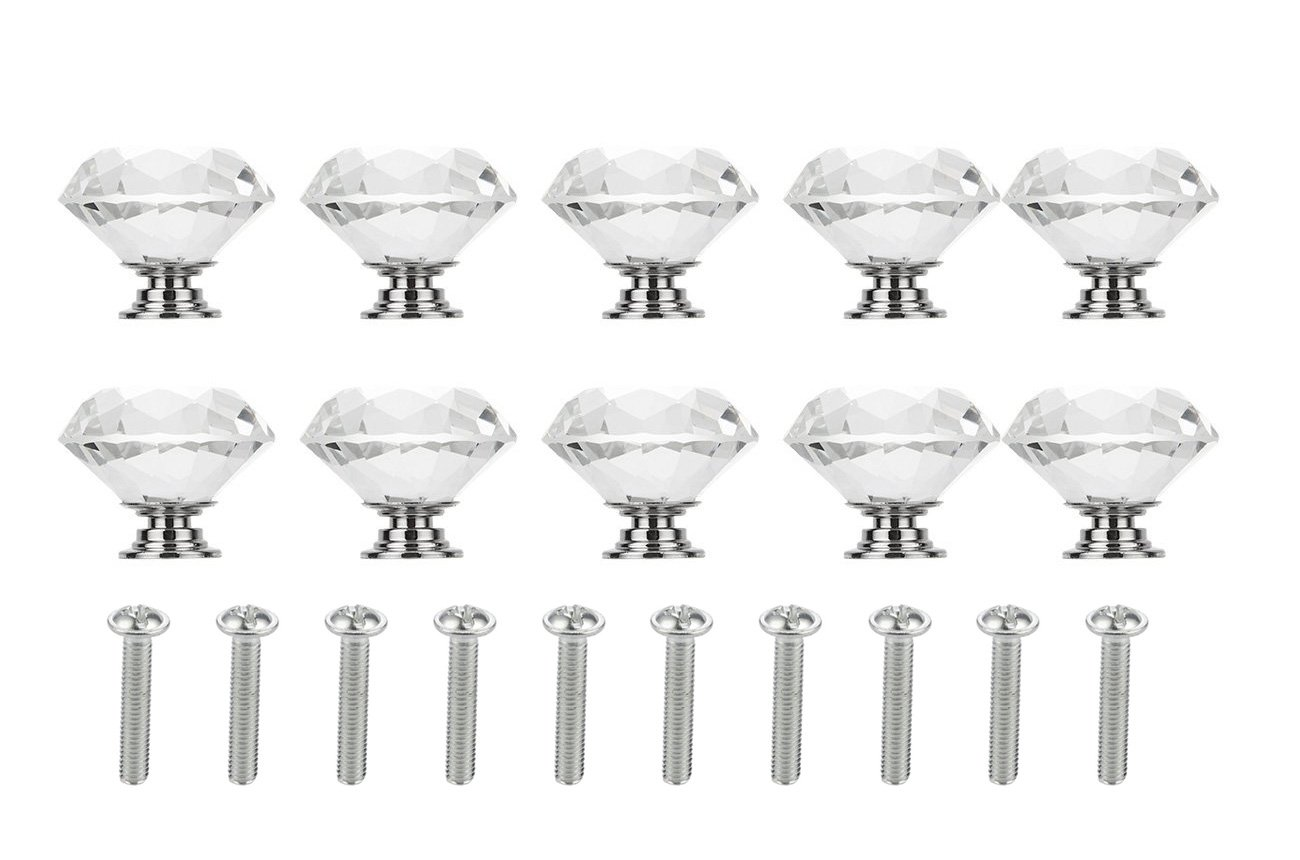 Crystal Glass Knobs - 10 Pieces of Clear Diamond Shape Pull Handles for Drawers, Cabinets, Dressers in Kitchen, Bedroom, Living Room, 40mm