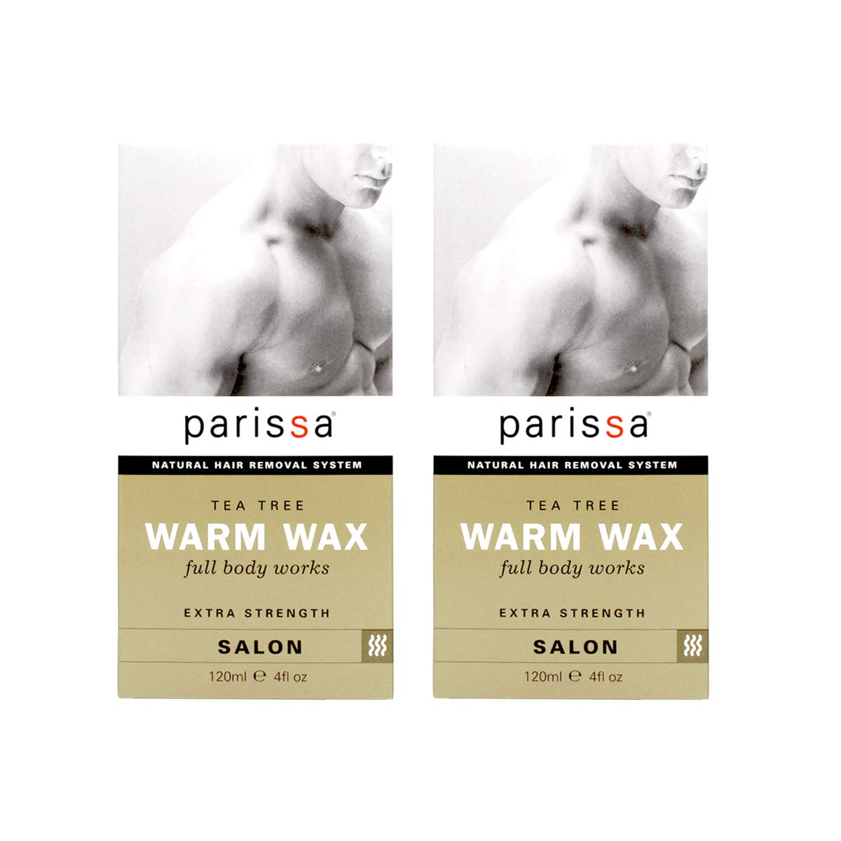 Parissa Warm Body Waxing Kit for Men, 4 Fl. Oz. Pack Of 2