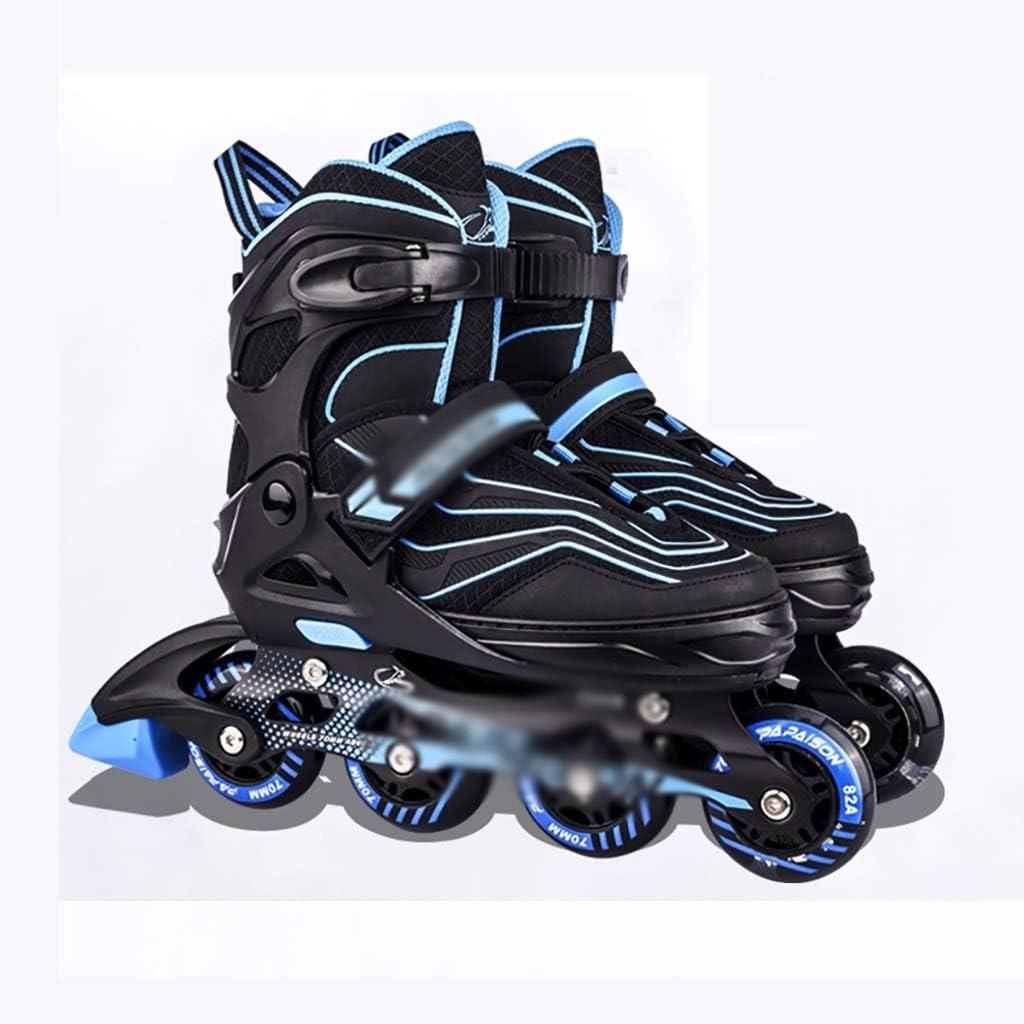 大人の照明インラインスケート調節可能なサイズの男の子と女の子インラインスケート安全で丈夫なジュニア快適なローラーブレード (Color : 青, Size : L-EU(39-41)) 青 L-EU(39-41)