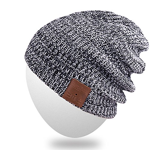 Bluetooth Beanie Hat,Qshell Winter Warm Soft Trendy Cap with Wireless Headphone Headset Earphone Stereo Speaker Mic Hands Free for Lifestyle Outdoor Sport,Support Iphone Android,Christmas Gifts - Gray