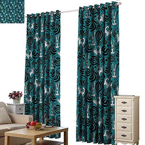 Homrkey Heat Insulation Curtain Animals Abstract Cat and Bunnies with Black Swirls Curves and Dots Pattern Thermal Insulated Tie Up Curtain W108 xL84 Petrol Blue Black Pale Blue