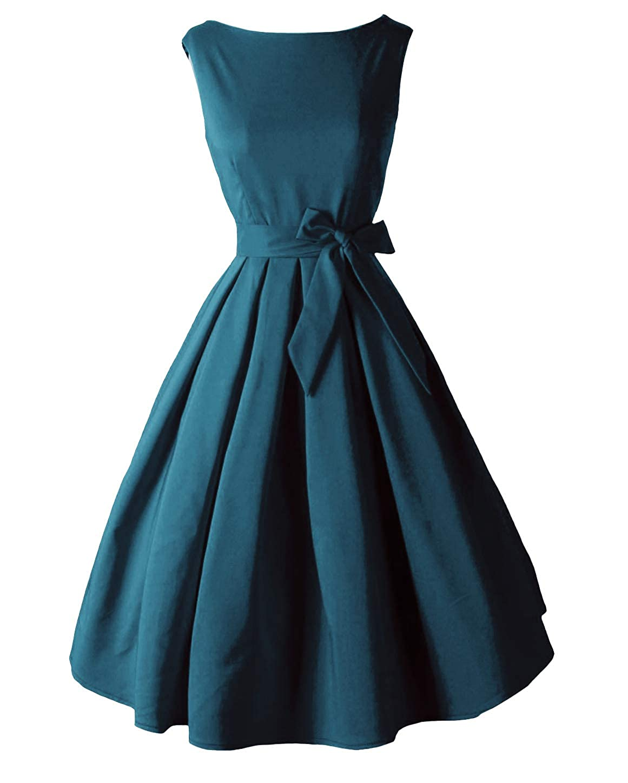 Dark Green Tecrio Vintage Audrey Hepburn 1950's Boat Neck Solid Cocktail Party Swing Dress