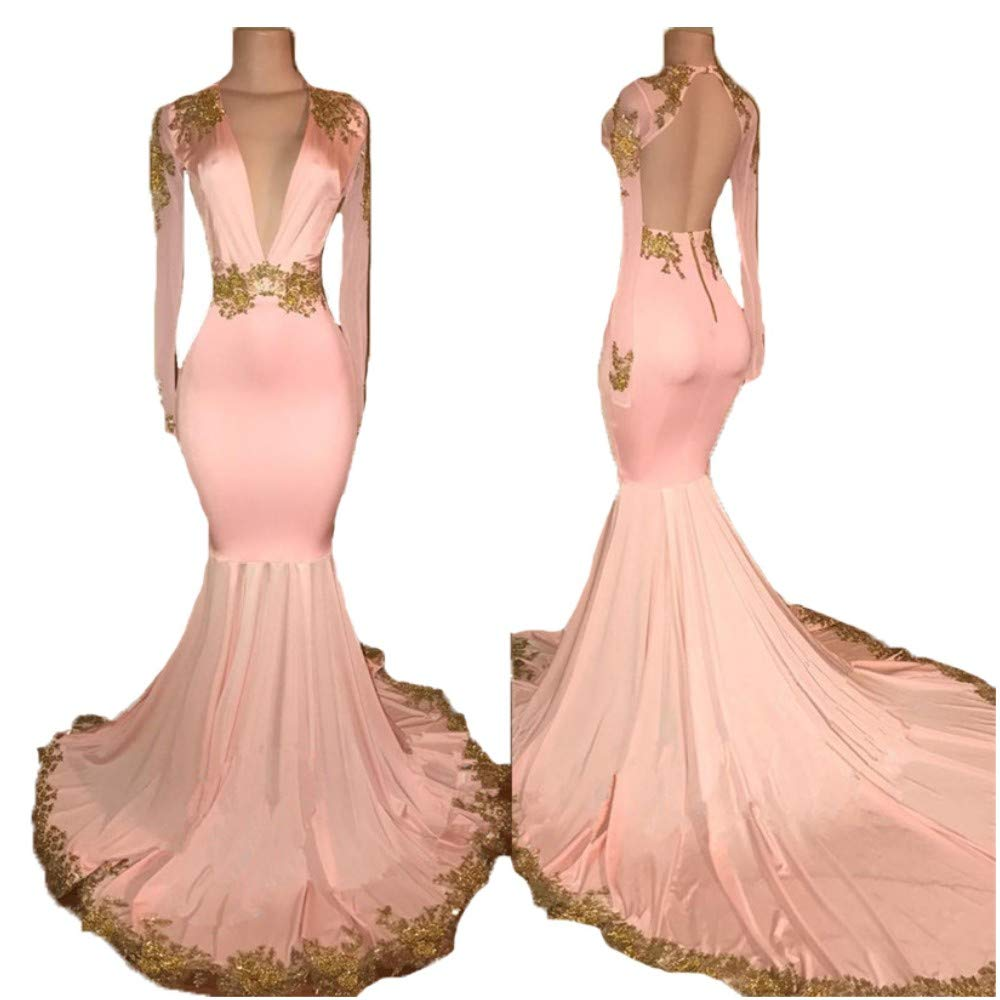 Hot Pink Liaoye Lace Prom Dresses Long Sleeves 2018 for Women Formal Deep V Neck Evening Dresses Mermaid Evening Party Gowns