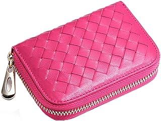 Femmes titulaire de carte de crédit tissé monnaie avec zip, Rose rouge Blancho Bedding