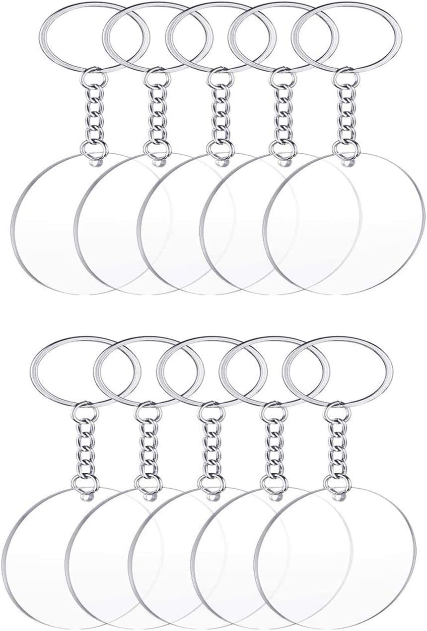 TSJ 10 PCS Acrylic Circle Blank Key Chains Round Keychain Blanks for DIY Crafts, 2 Inch