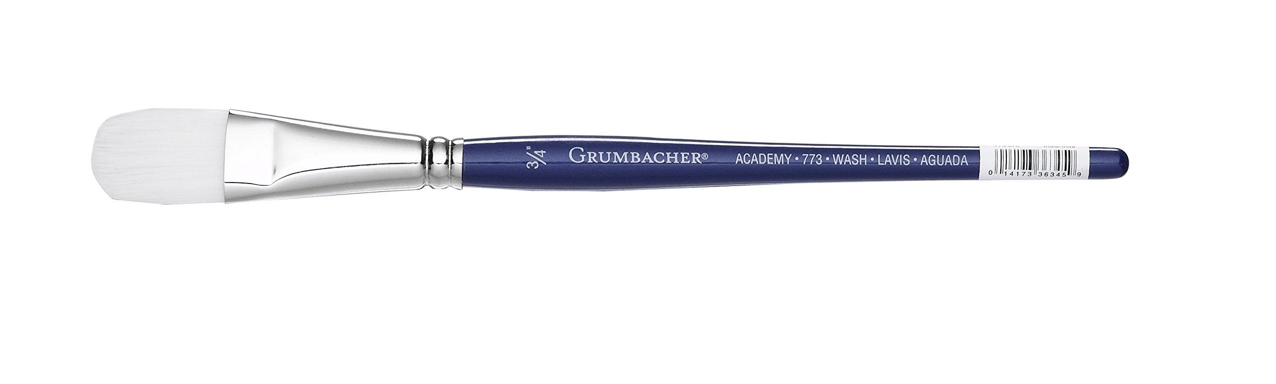 Grumbacher Academy Watercolor Oval Wash Brush, White Nylon Bristles, 3/4'' Size (773.075)